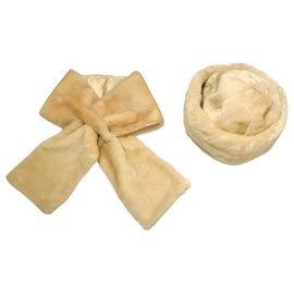 Autre Marque-Chapka and Scarf set-Cream