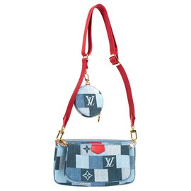 Louis Vuitton-Multi-Pochette Limited edition Louis Vuitton in Denim, new condition!-Red,Blue