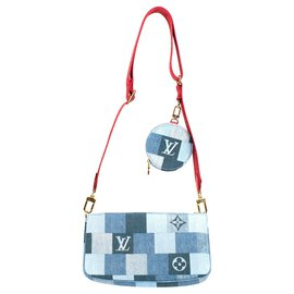 Louis Vuitton-Multi-Pochette Limited edition Louis Vuitton in Denim, new condition!-Red,Blue