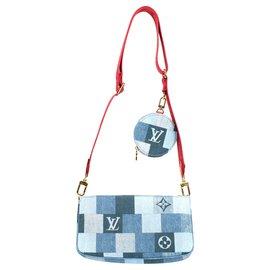 Louis Vuitton-Multi-Pochette Edição limitada Louis Vuitton em Denim, Nova Condição!-Vermelho,Azul