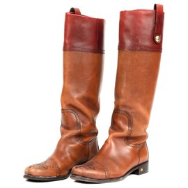 Louis Vuitton-Louis Vuitton riding boots in bicolor camel and burgundy calf leather-Brown,Dark red
