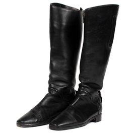 Hermès-Bottes Cavalières Hermès en cuir de veau noir-Noir