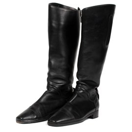 Hermès-Hermès riding boots in black calf leather-Black