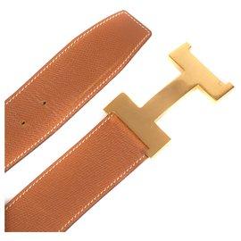 Hermès-Hermès women's belt in Epsom Gold leather, wide golden buckle-Beige