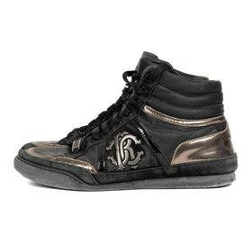 Roberto Cavalli-High-top sneakers for Roberto Cavalli in black and gold leather, taille 40-Black,Golden