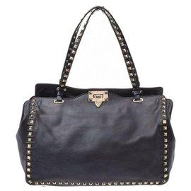 Valentino-Valentino Rockstud Tote Bag-Black
