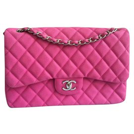 Chanel-Chanel Pink suede caviar Jumbo flap bag-Pink