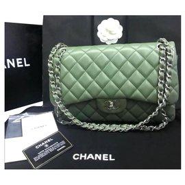 Chanel-Chanel green lambskin Jumbo flap bag-Green