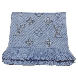 Louis Vuitton-Louis Vuitton logomania shine scarves-Blue