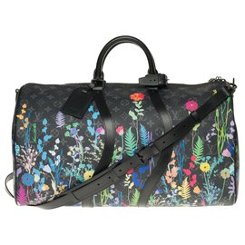Louis Vuitton-Limited Edition Louis Vuitton Keepall 50 Eclipse Foliage with strap, pristine condition-Black,Multiple colors