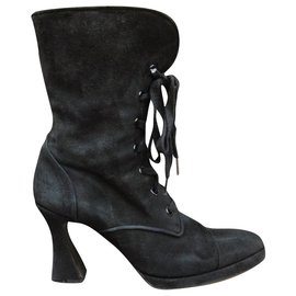 Chanel-Chanel vintage p boots 38,5-Black
