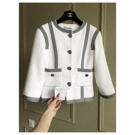 Chanel-boucle tweed jacket-White
