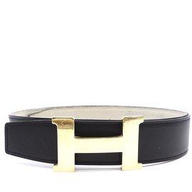 Hermès-Hermès Constance Large 38mm Ceinture réversible en or H-Noir