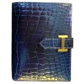 Hermès-Portefeuille Hermes Bearn en alligator compact-Bleu foncé