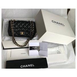 Chanel-w/card and box black flap bag-Black