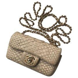 Chanel-w / box python mini retalho-Bege
