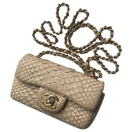 Chanel-w/box python mini flap bag-Beige