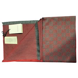 Gucci-gucci monogram scarf unisex new-Dark red