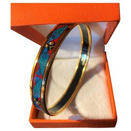 Hermès-Beautiful Hermès Bracelet in Gold Plated 18 carats and Enamel Egyptian motifs-Multiple colors