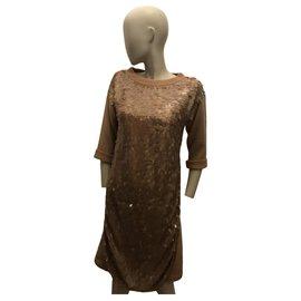 Twin Set-Sequin sweater dress-Beige