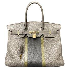 Hermès-HERMES BIRKIN BAG 35 Tri-color Clémence, chèvre, Lizard / Tin, Graphite and Dark Gray-Golden,Grey