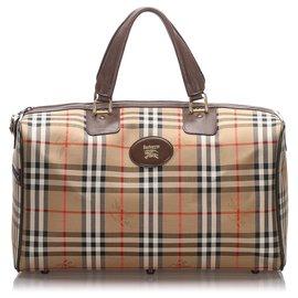 Burberry-Burberry Brown Haymarket Canvas Travel Bag-Brown,Light brown
