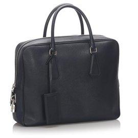 Prada-Prada Black Leather Saffiano Galleria Briefcase-Black
