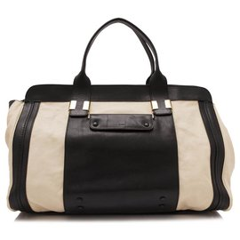 Chloé-Chloe Black Leather Alice Satchel-Brown,Black,Beige