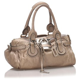 Chloé-Chloe Brown Leather Paddington Handbag-Brown,Beige