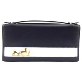 Hermès-Hermes Evening Bag Eugene Blue Leather-Blue
