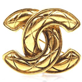 Chanel-Chanel CC Quilted Hardware Brooch-Golden