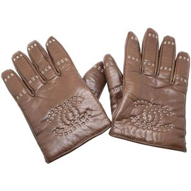 Chanel-Chanel Brown CC Leather Gloves Size 8-Brown