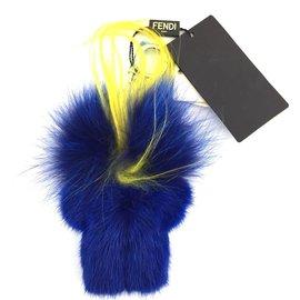Fendi-Fendi Blue Peekaboo Monster Fur Doll Charm-Bleu
