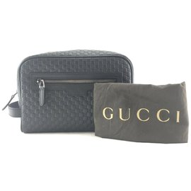 Gucci-Gucci Toiletry Cosmetic Black Leather-Noir