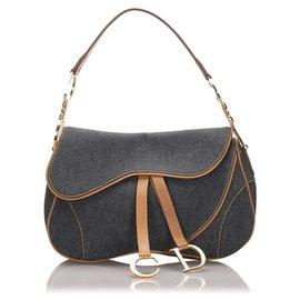 Dior-Dior Blue Denim forrado Saddle-Marrom,Azul,Outro,Castanho claro