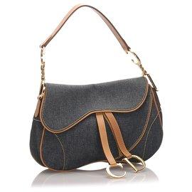 Dior-Dior Blue Denim lined Saddle-Brown,Blue,Other,Light brown