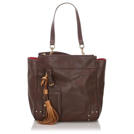 Chloé-Chloe Brown Leather Eden Tote Bag-Brown