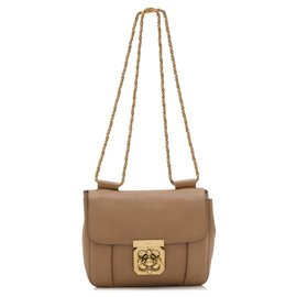 Chloé-Chloe Brown Leather Elsie Crossbody Bag-Brown