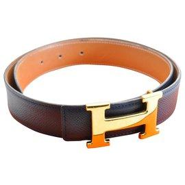 Hermès-Hermès leather belt-Blue