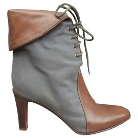 Chloé-Chloé canvas and leather ankle boots p 37-Grey