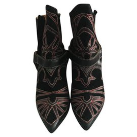 Isabel Marant-Ankle Boots-Black,Red