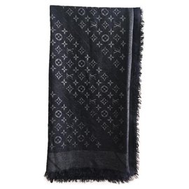 Louis Vuitton-Scarves-Silvery,Navy blue