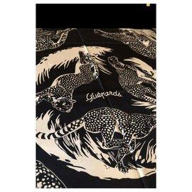 Hermès-Carré Hermès 90 guépards Tattoo neuf-Blanc,Bleu Marine