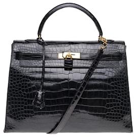 Hermès-Superbe Hermès Kelly 35 bandoulière en crocodile porosus noir, garniture en métal plaqué or-Noir