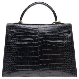 Hermès-Superb Hermes Kelly 35 black porosus crocodile strap, gold plated metal trim-Black