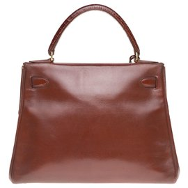 Hermès-hermes kelly 28 returned in cognac box leather customized by John R workshops-Brown