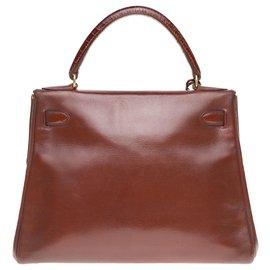 Hermès-Hermès Kelly 28 retourné en cuir box cognac customisé par les ateliers John R-Marron