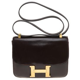 Hermès-Hermes Constance 23 In brown box leather, gold plated metal trim-Brown