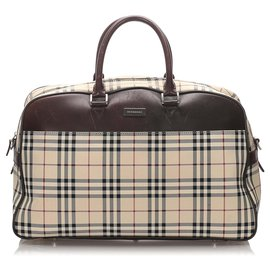 Burberry-Burberry Brown House Check Canvas Travel Bag-Brown,Multiple colors,Beige