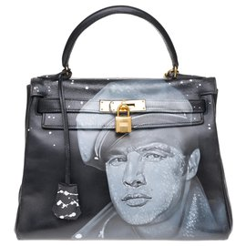 "Hermès-hermes kelly 28cm in black box leather customized ""Marlon Brando"" #55 by PatBo, golden jewelry in good condition!-Black"